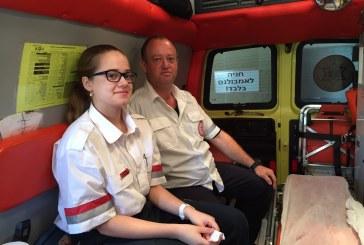נשר: האב הגיע להתנדב באמבולנס עם הבת